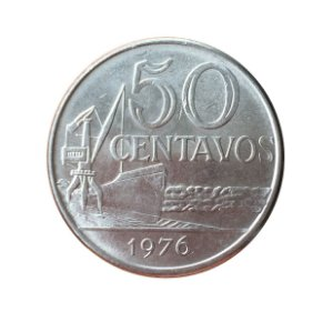 Moeda Antiga do Brasil 50 Centavos de Cruzeiro 1976