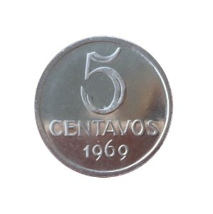 Moeda Antiga do Brasil 5 Centavos de Cruzeiro 1969 - PROOF