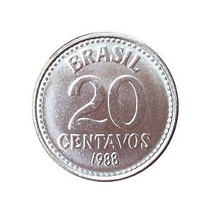 Moeda Antiga do Brasil 20 Centavos de Cruzado 1988
