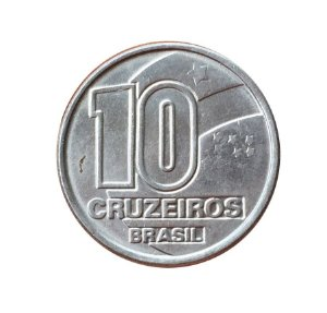 Moeda Antiga do Brasil 10 Cruzeiros 1991 - Seringueiro