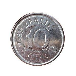 Moeda Antiga do Brasil 10 Cruzeiros Reais 1993 - Tamanduá