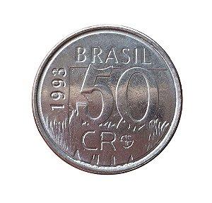 Moeda Antiga do Brasil 50 Cruzeiros Reais 1993 - Onça Pintada