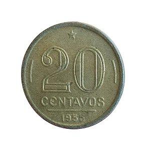 Moeda Antiga do Brasil 20 Centavos de Cruzeiro 1955 - Ruy Barbosa