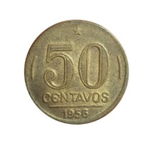 Moeda Antiga do Brasil 50 Centavos de Cruzeiro 1956 - Presidente Dutra
