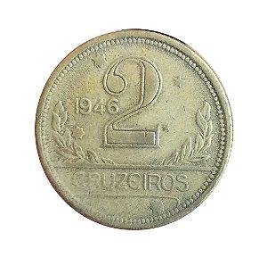 Moeda Antiga do Brasil 2 Cruzeiros 1946 - Reverso Inclinado