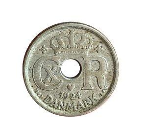 Moeda Antiga da Dinamarca 10 Ore 1924