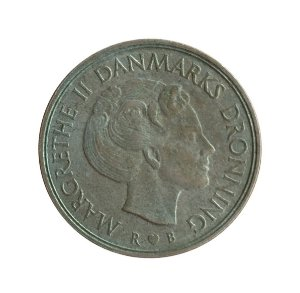 Moeda Antiga da Dinamarca 1 Krone 1984 R