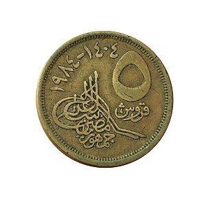 Moeda Antiga do Egito 5 Piastres AH 1404 (1984)