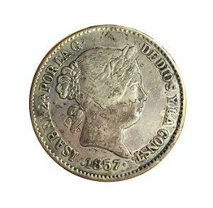 Moeda Antiga da Espanha 20 Reales 1857 - Falsa (de Época?)