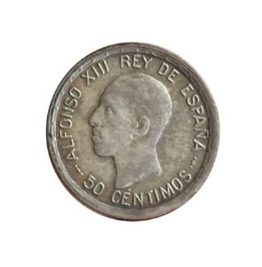 Moeda Antiga da Espanha 50 Centimos 1926 PC-S