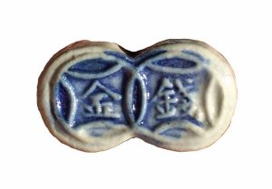 Token Antigo da China - Siamese 2 Esferas de Porcelana