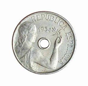 Moeda Antiga da Espanha 25 Centimos 1934
