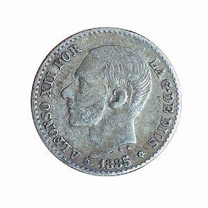 Moeda Antiga da Espanha 50 Centimos 1885