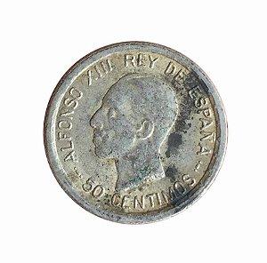 Moeda Antiga da Espanha 50 Centimos 1926