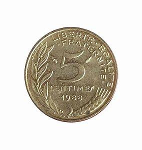Moeda Antiga da França 5 Centimes 1988