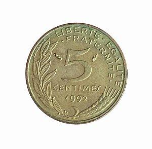 Moeda Antiga da França 5 Centimes 1992