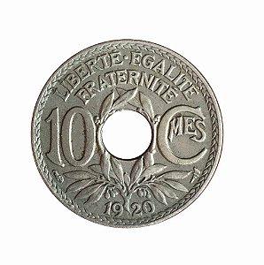 Moeda Antiga da França 10 Centimes 1920
