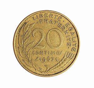 Moeda Antiga da França 20 Centimes 1967
