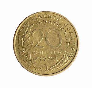 Moeda Antiga da França 20 Centimes 1972