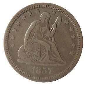 Moeda Antiga dos Estados Unidos Quarter Dollar 1857