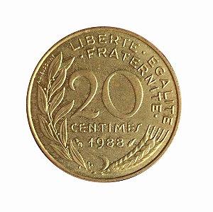 Moeda Antiga da França 20 Centimes 1988