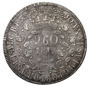 Moeda Antiga do Brasil 960 Réis 1819R recunhada sobre Un Peso do Chile 1819