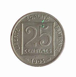 Moeda Antiga da França 25 Centimes 1903