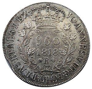 Moeda Antiga do Brasil 960 Réis 1818R galhos duplos recunhada sobre Un Peso do Chile