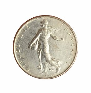 Moeda Antiga da França 1 Franc 1991