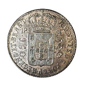 Moeda Antiga do Brasil 960 Réis 1816R recunho sobre México