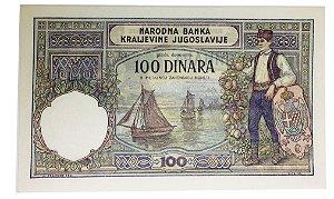 Cédula Antiga da Iugoslávia 100 Dinara 1929