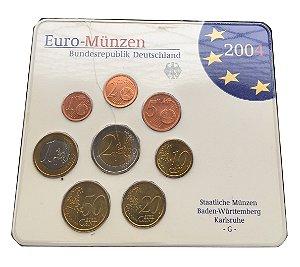 Conjunto com 08 Moedas Antigas da Alemanha 2004 - Euro
