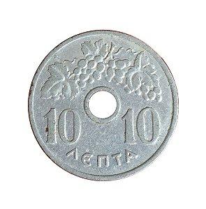Moeda Antiga da Grécia 10 Lepta 1954