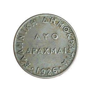 Moeda Antiga da Grécia 2 Drachmai 1926