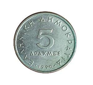 Moeda Antiga da Grécia 5 Drachmes 1990