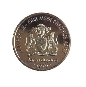 Moeda Antiga da Guiana 25 Cents 1976