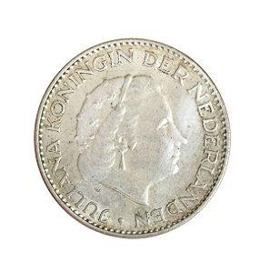 Moeda Antiga da Holanda 1 Gulden 1955