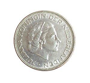 Moeda Antiga da Holanda 2 1/2 Gulden 1960