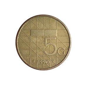 Moeda Antiga da Holanda 5 Gulden 1990