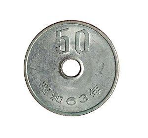Moeda Antiga do Japão 50 Yen 1988