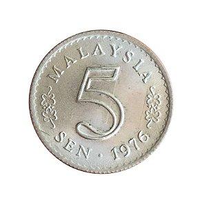 Moeda Antiga da Malásia 5 Sen 1976
