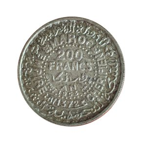 Moeda Antiga de Marrocos 200 Francs 1953