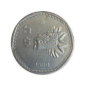 Moeda Antiga do México 5 Pesos 1980