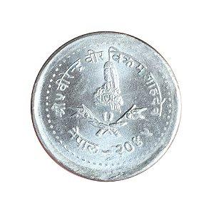 Moeda Antiga do Nepal 5 Paisa 1988 - VS 2045