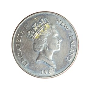 Moeda Antiga da Nova Zelândia 20 Cents 1987