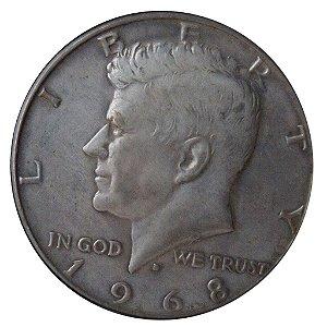 Moeda Antiga dos Estados Unidos Half Dollar 1968D