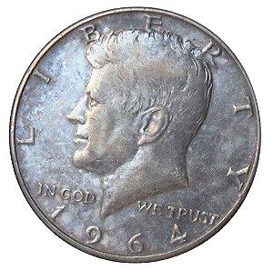 Moeda Antiga dos Estados Unidos Kennedy Half Dollar 1964D