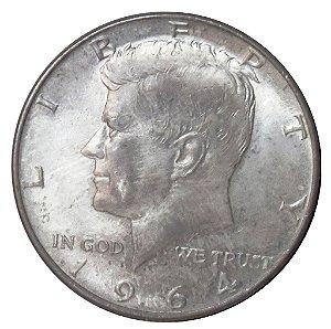 Moeda Antiga dos Estados Unidos kennedy Half Dollar 1964