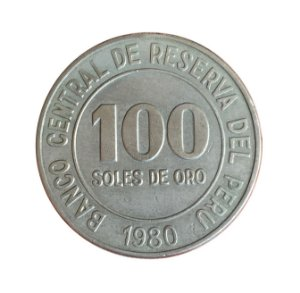 Moeda Antiga do Peru 100 Soles de Oro 1980