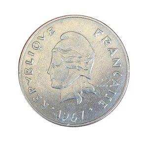 Moeda Antiga da Polinésia Francesa 50 Francs 1967
